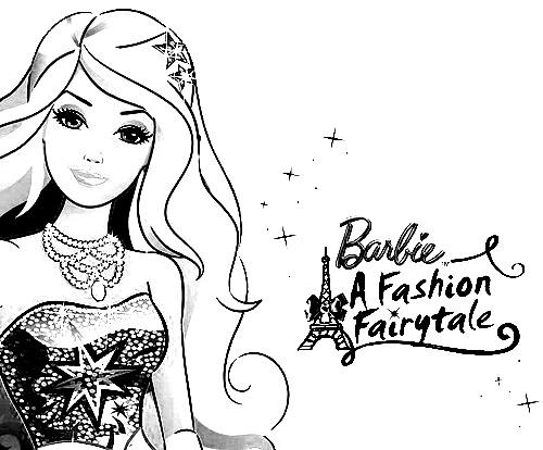 Barbie in a Fashion Fairytale Color Pages 1