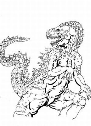 pin godzilla coloring printable picture on pinterest - Printable Godzilla Coloring Pages